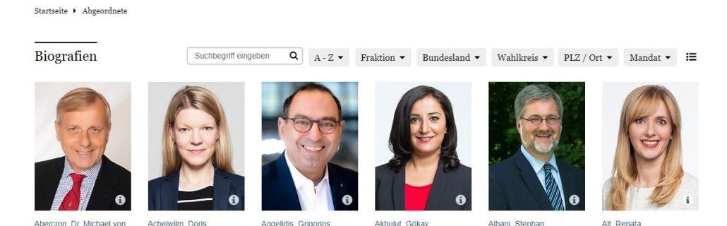 Deutscher Bundestag Liste MdB